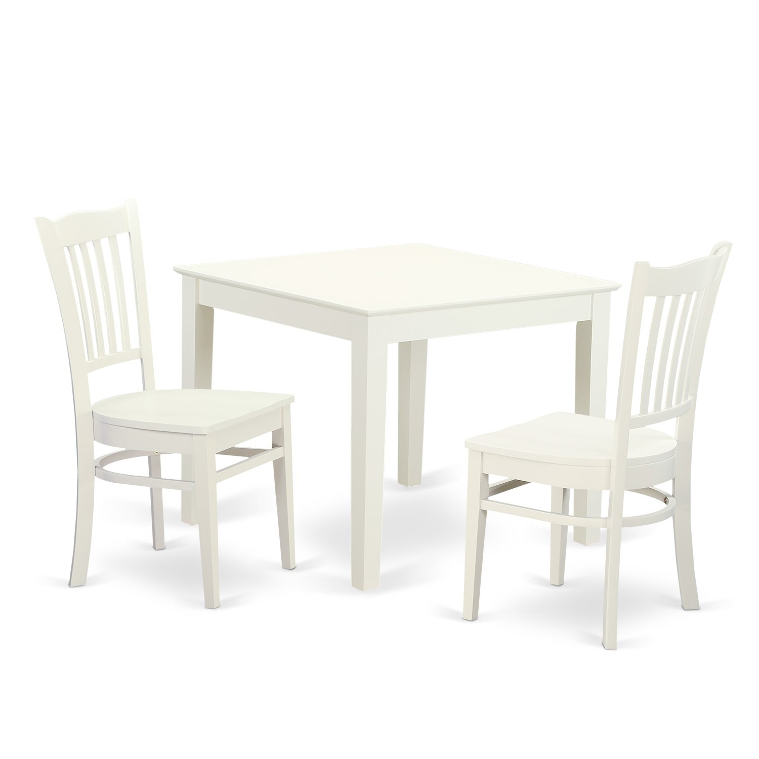 East West Furniture OXGR3-LWH-W 3Piece Breakfast Nook Table & 2 Wood Dining Room Chair in Linen White Finish
