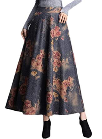 ShuangRun Falda de Lana Plisada para Mujer, Falda Larga de Cintura ...
