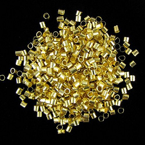 Gold Plated Tube (Forever Yung 2mm Gold Plated Tube Crimp Brass Round Beads (About 800pcs))