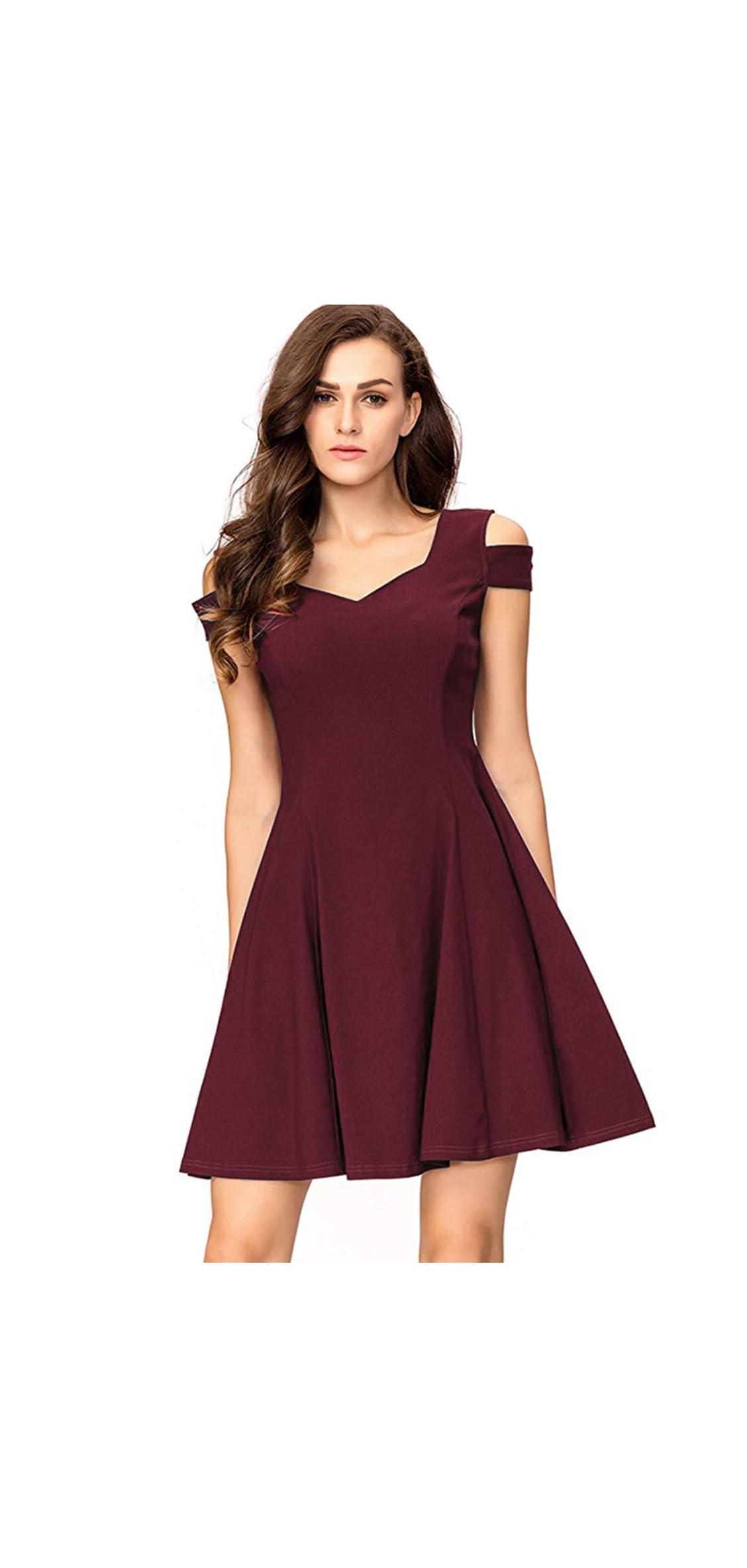 Women's Cold Shoulder Little Cocktail Party A-line Dress