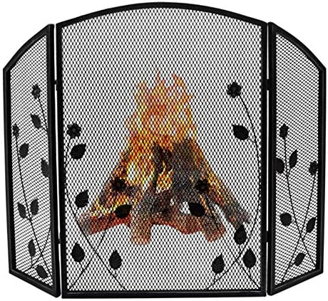 暖炉用品・アクセサリ ウッドバーナー/ガス火災のための3パネル華やかな暖炉スクリーン装飾メッシュ、ソリッド錬鉄ベビー安全証明ストーブスパークガード、 (Color : Black)