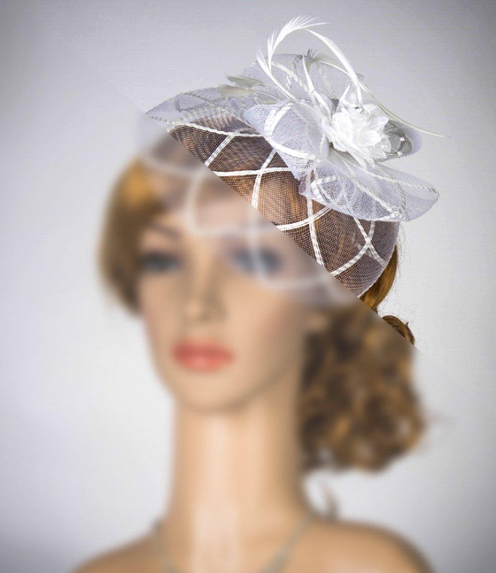 f5c6952728706 Amazon.com  Rose Flower Veil Fascinator White With Veil Wedding hat   Handmade