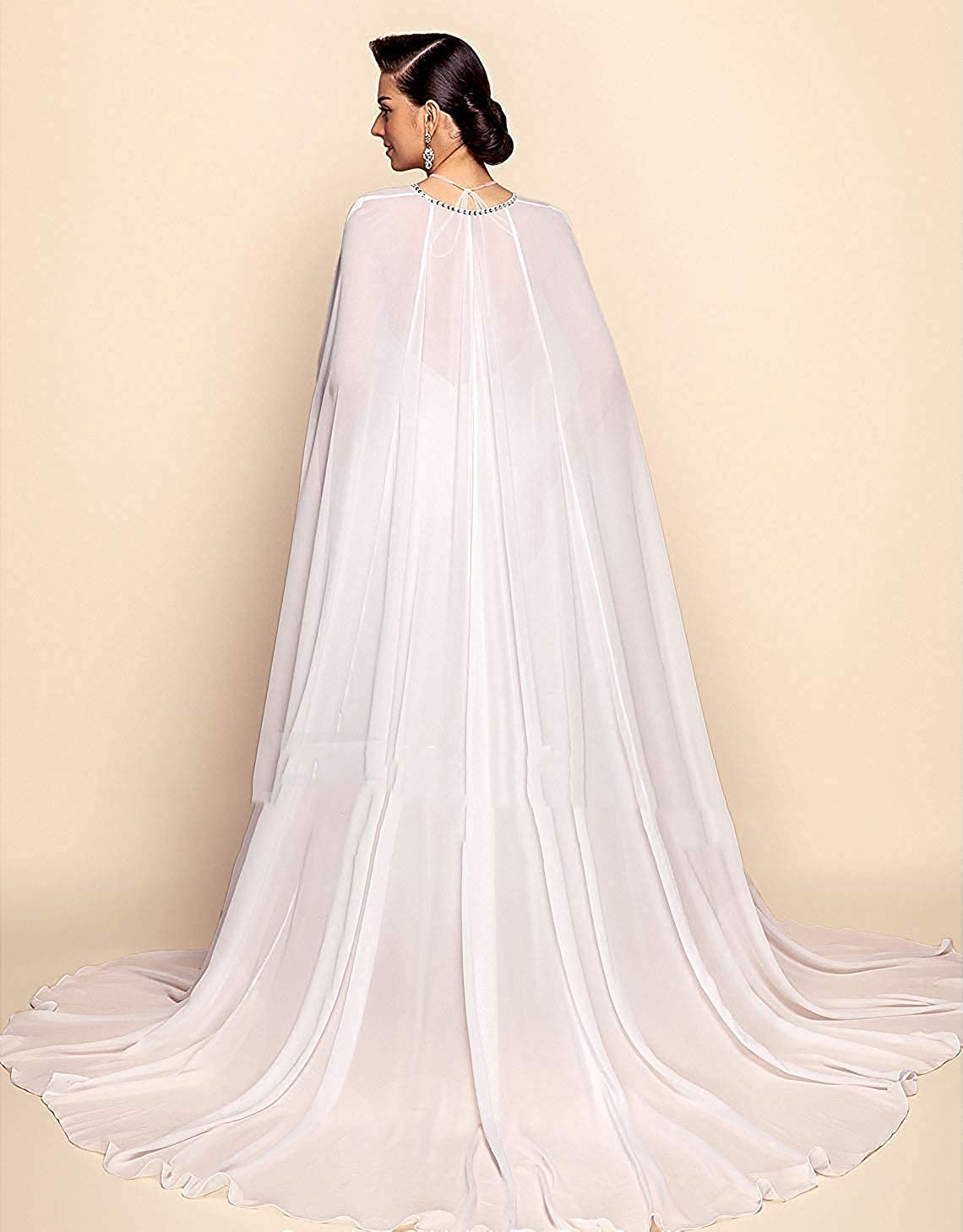 Cibelle Womens Chiffon Beading 3 Meters Long Wedding Cloak Bridal Cape