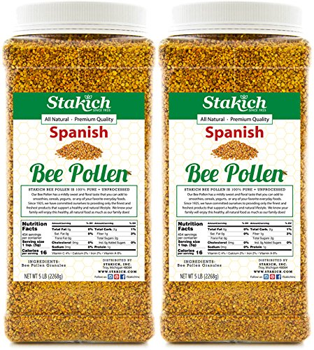 (Stakich SPANISH BEE POLLEN GRANULES 10 lb (160 oz) - 100% Pure, Natural, Unprocessed - 2 PACK of 5 lb)
