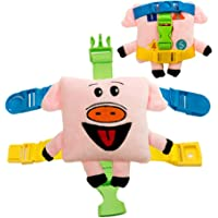 Buckle Toy - Mini Size Biggy Pig - Learning Activity Toy - Develop fine Motor Skills - Compact Travel Size