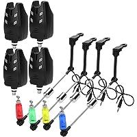 Keenso Alarma de mordedura, 4 Juegos de ABS LED, Alarma de Pesca electrónica, suspensión Ajustable, Sensor de mordedura…