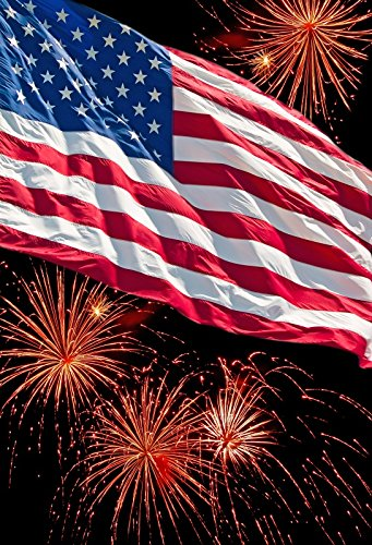 OFILA American Flag Backdrop 5x7ft Fireworks 4th of July Independence Day Celebration USA Parade Banner Patriotic Holidays Decoration Memorial Day Background American Signs Photos Video Studio Props ()