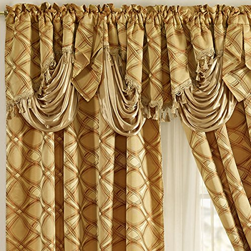 DANCE WITH WIND. Jacquard window curtain panel drape with attached fancy valance. 2pcs set. Each pc 54