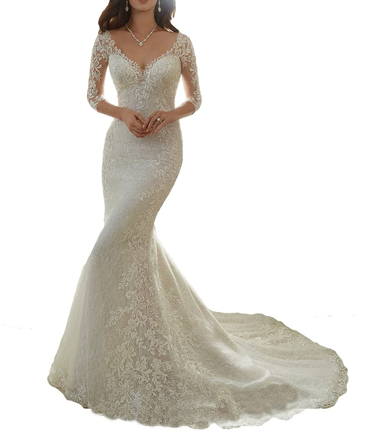 Attractive Cardol Flower Appliques Mermaid Half Sleeves Lace Wedding Dresses Bridal  Wedding Gowns At Amazon Womenu0027s Clothing Store: