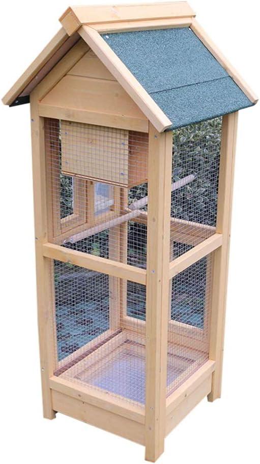 Loro jaula de pájaro, jaula grande de madera de aves reproductoras de la jaula al aire libre durable de la jaula de pájaro Birdhouse doble bandeja for mascotas Jaula Jaula del loro Soportes para jaula