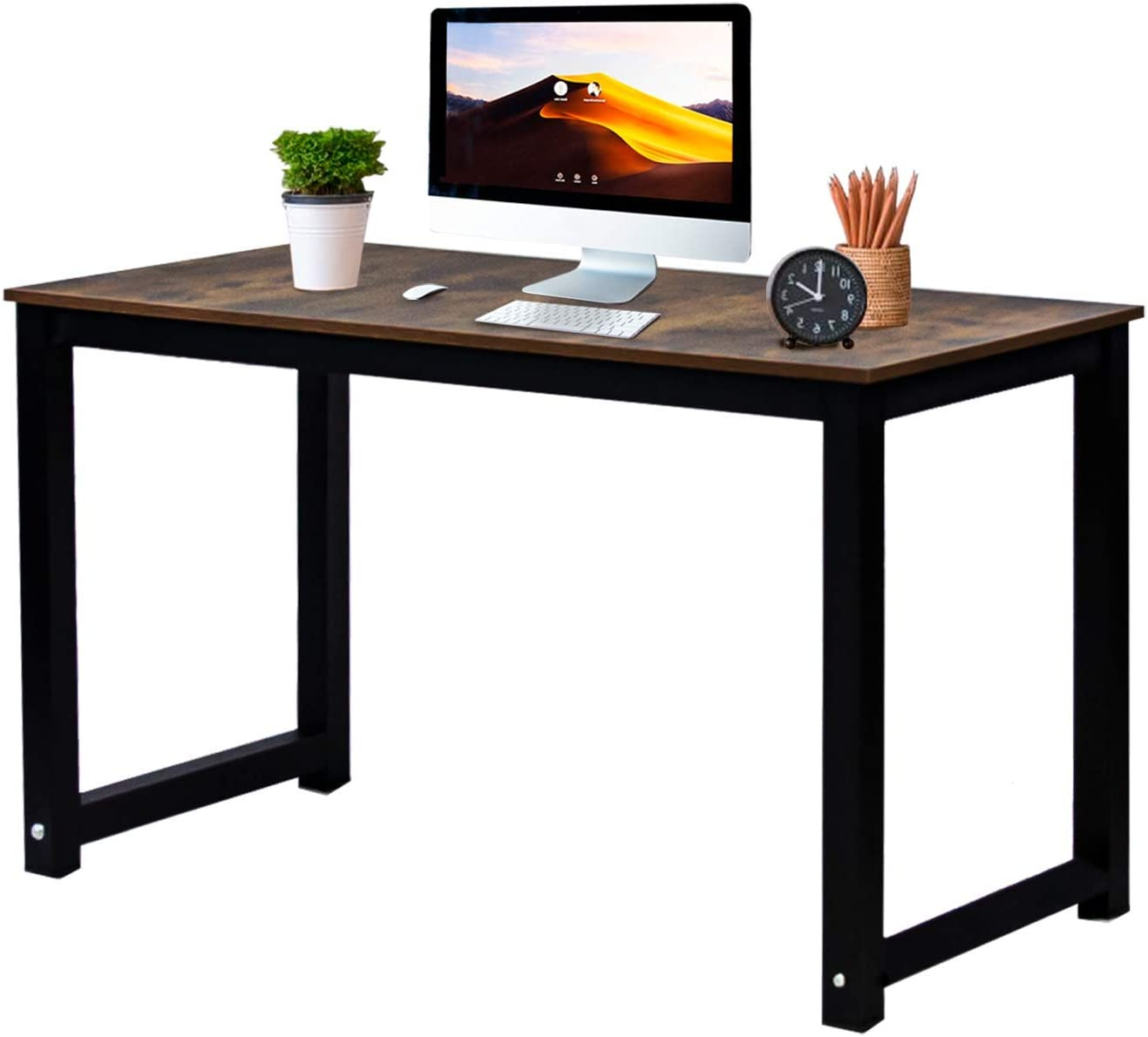 Jerry /& Maggie Sturdy Desktop Length 47 Professional Office Desk Wood /& Steel Table Modern Plain Lap Desk with Rectangular Legs Computer Desk Personal Working Space Rustic Wood Tone