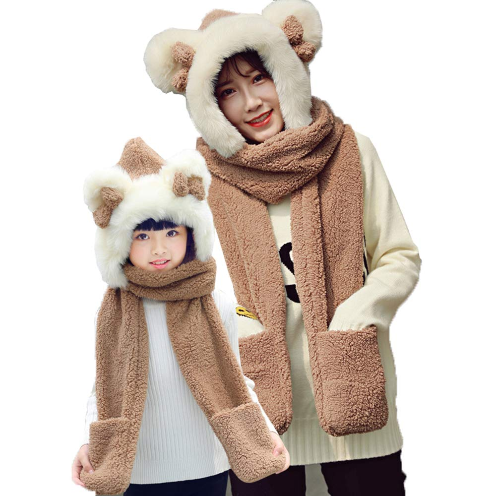 Women Girls Cat Hat with Scarf Mittens Cute Winter Fur Hooded Caps for Gifts