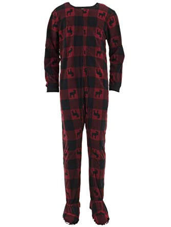 13e81820d Komar Kids Big Boys' Moose Red Buffalo Plaid Footed Pajamas L/10-12