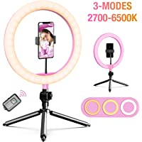 "APPHOME LED Ring Light 10"" with Tripod Stand & Phone Holder, 128 Bulbs & 3 Light Modes & 10 Brightness Level Dimmable…"