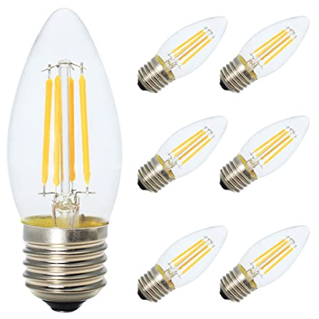 6X E27 Bombilla Edison LED Dimmable,4W Bombilla LED,Bombilla LED Vela, Blanco