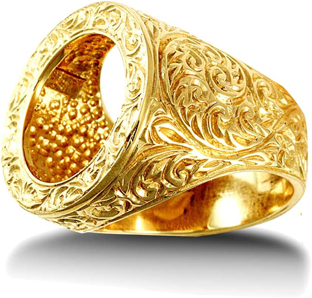 Jewelco London Mens Solid 9ct Yellow Gold Heavyweight Floral Carved Full Sovereign Mount Ring Size