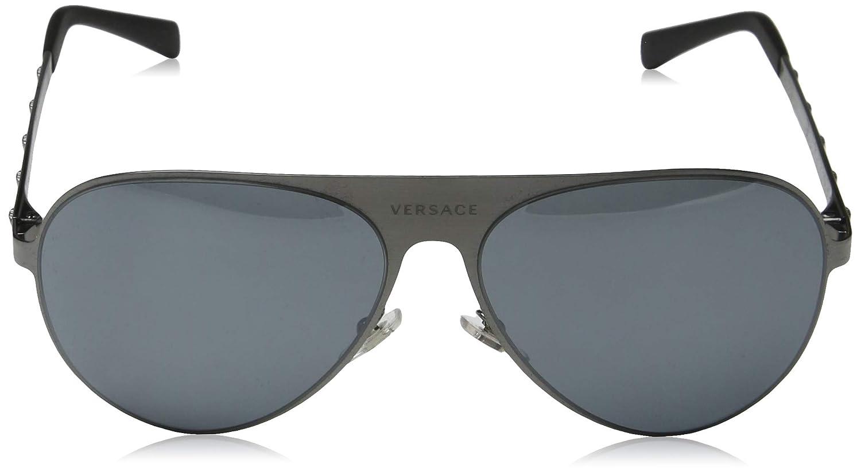 65dffe7de9341 Amazon.com  Versace Unisex VE2189 Brushed Gunmetal Grey Mirror Black One  Size  Clothing
