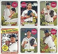 2018 Topps Heritage Boston Red Sox Team Set of 12 Cards: Craig Kimbrel(#28), Chris Sale(#109), Andrew Benintendi(#130), Rick Porcello(#133), Hanley Ramirez(#146), Mookie Betts(#182), Kyle Martin/Rafael Devers(#189), Christian Vazquez(#271), David Price(#3