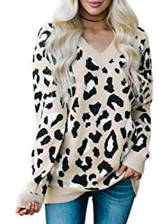 4f8d86daa714 Karlywindow Womens Leopard Print Sweaters Long Sleeve V Neck Knitted  Stylish Pullover