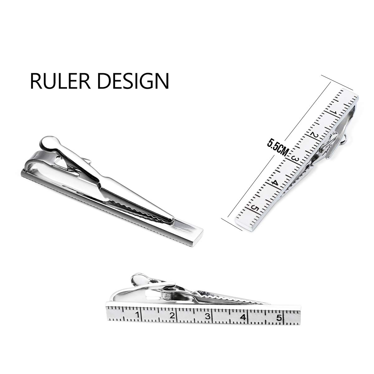 Kaidvll 3 Pcs Tie Clips for Men Tie Bar Clip Set with Gift Box for Man and Boys