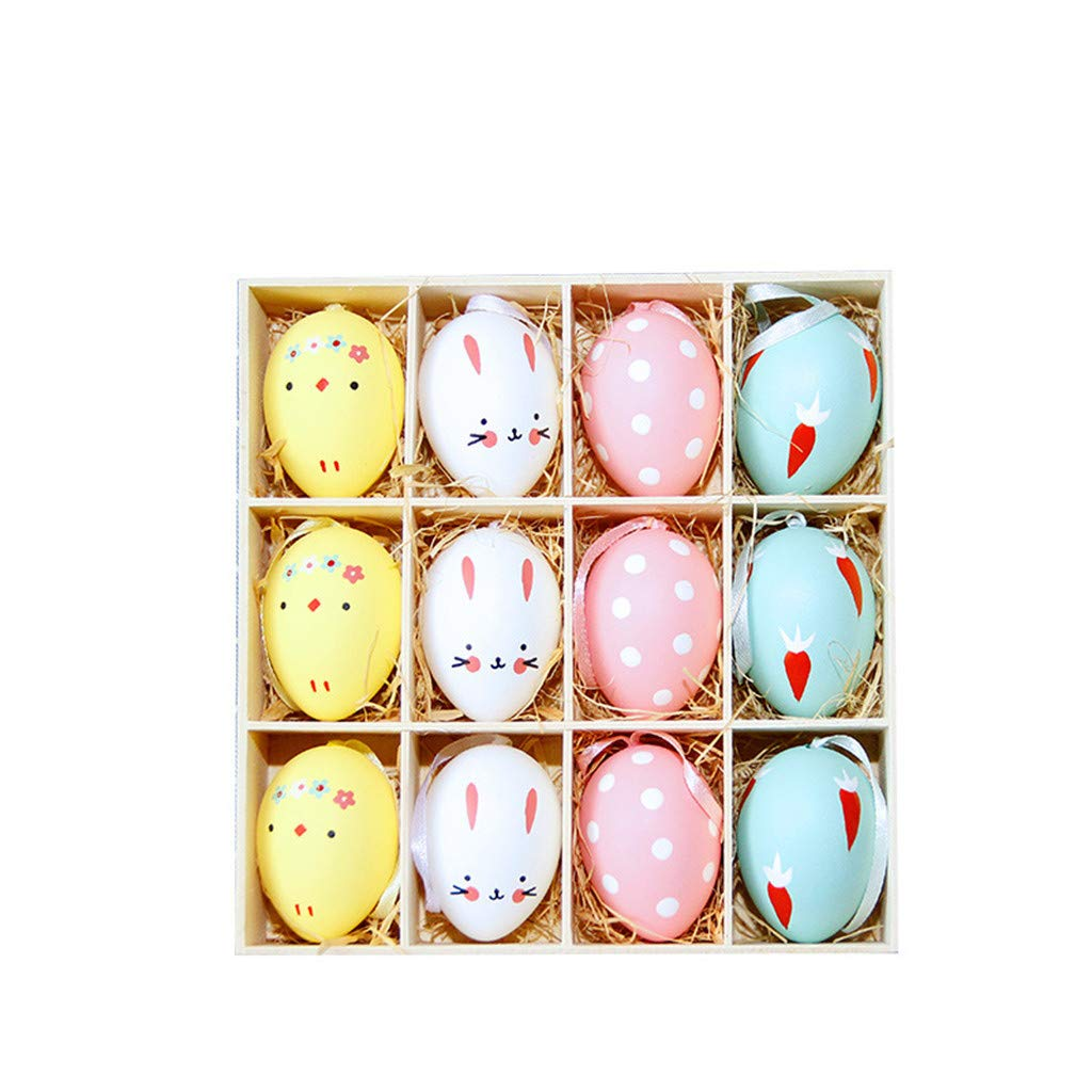 Onefa Easter, Easter Decoration Gift,Easter Mini Egg Lace Egg Decoration, 12PC Colorful Baby Kid Drawing Painting Easter Eggs Color Egg Birthday GIF