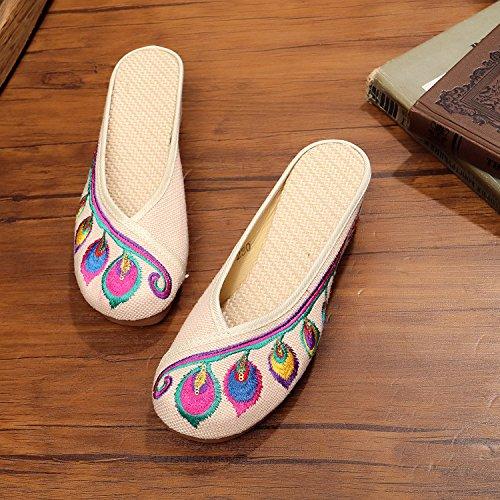 GuiXinWeiHeng xiuhuaxie Zapatos bordados, lenguado de tend¨®n, estilo ¨¦tnico, flip flop femenino, moda, c¨®modo, Sandalias aumentadas beige