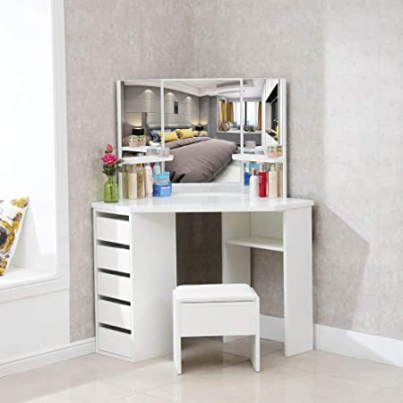 Clipop White Corner Bedroom Dressing Table Set Makeup Vanity Desk With 3 Mirror 5 Drawer And Stool Bedroom Girls Dresser Desk Furniture With 25mm Thick Gloss Table Top 114x61x140cm Amazon Co Uk Kitchen Home