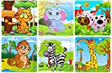 Vibgyor Vibes Wood Jigsaw Puzzles for Children- Pack of 6 Different Patterns with 9 Piece Puzzle in a Frame Board (15X15Cm)