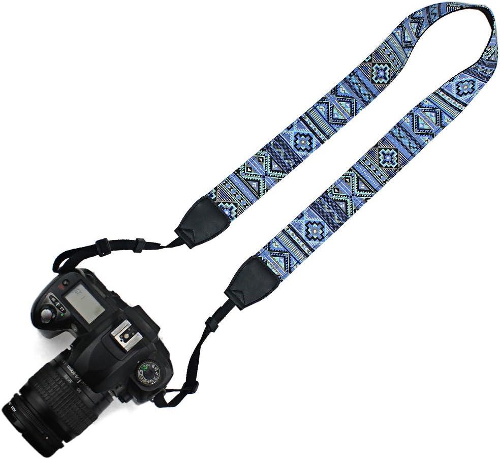 Elvam Universal Men and Women Camera Strap Belt Compatible with All DSLR Camera and SLR Camera - Blue Pattern Striped