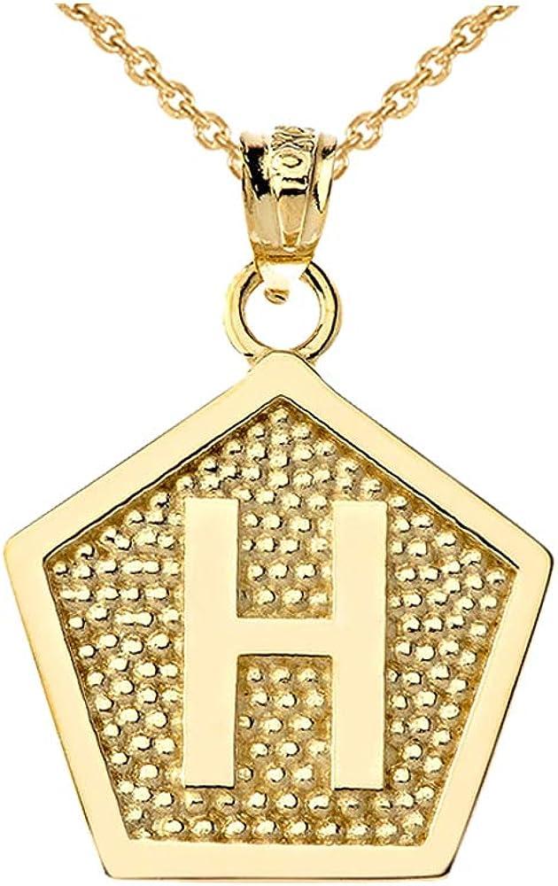 LA BLINGZ 10K Yellow Gold Letter Q Initial Pentagon Pendant Necklace