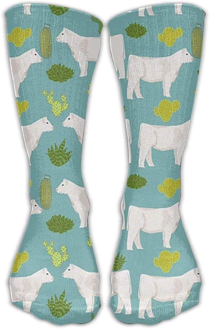 Nifdhkw Charolais - Calcetines largos para disfraz de vaca y cactus ...