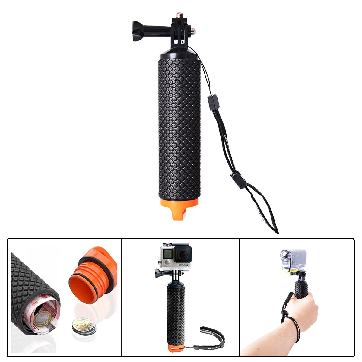 Fantaseal Coutainer Floaty Bobber Camera Grip for Sony Storage Floating Bobber Handheld Grip Sony Lightweight Handle Grip Stabilizer for Sony Gopro SJCAM Xiaomi Yi + Nikon Canon Sony DSLR /Comcorder