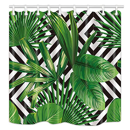 NYMB Jungle Plant Tropical Palm Leaves on The Black White Geometric Background Bath Curtain, Polyester Fabric Waterproof Shower Curtains, 69X70 in, Shower Curtain Hooks Included, Green (Black And Green Curtain Shower)