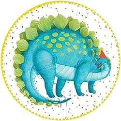 Platos de papel Parte de dinosaurio Suministros Niños Fiesta de cumpleaños ideas Postre de 20,3cm, Contemporáneo, Azul, Paquete de 8