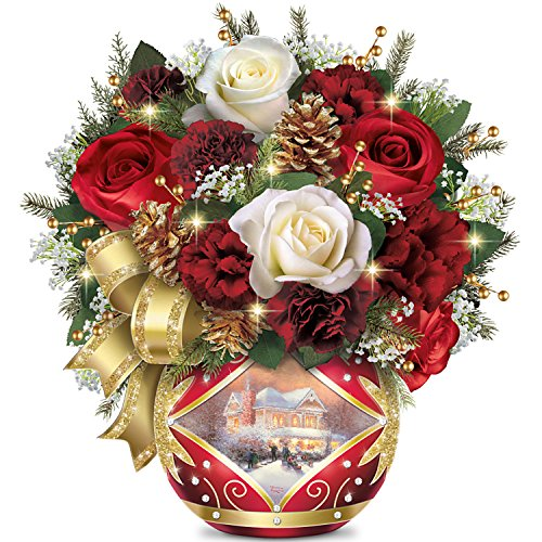 Thomas Kinkade Holiday Cheer Always in Bloom Illuminated Floral Arrangement by The Bradford Exchange