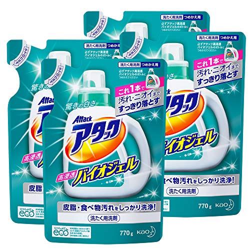 【まとめ買い】アタック 洗濯洗剤 液体 高浸透バイオジェル 詰め替え 770g×4個