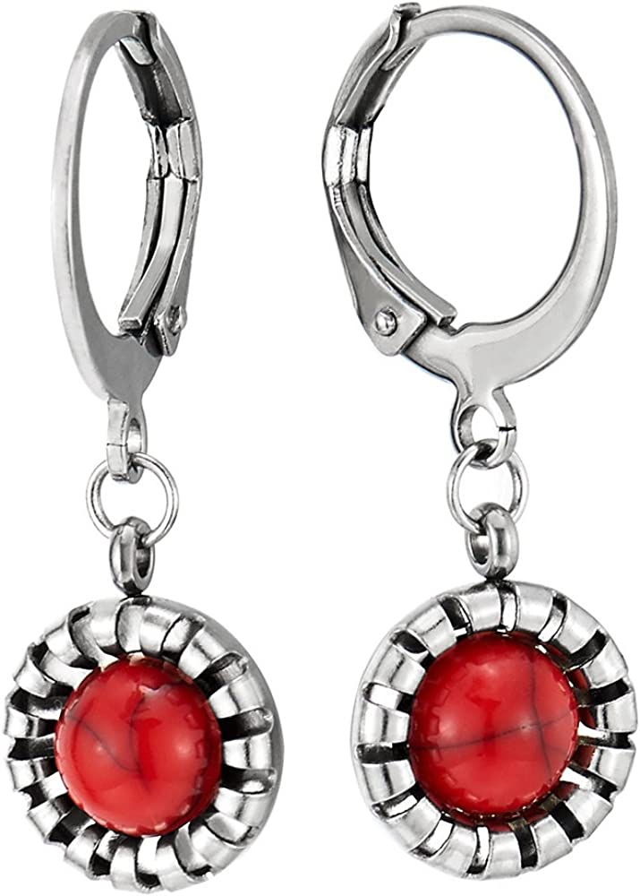 2 Acero Inoxidable Pequeño Pendientes del Aro para Mujer Niñas, Pendientes Lobo, con Colgantes Círculo y Rojo Piedras