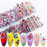 Valuu 10 Sheets Butterfly Nail Art Foil Transfer Decals Flower Nail Foil Adhesive Stickers Starry Sky Manicure Transfer Tips Nail Art DIY Decoration Kit (Butterfly)