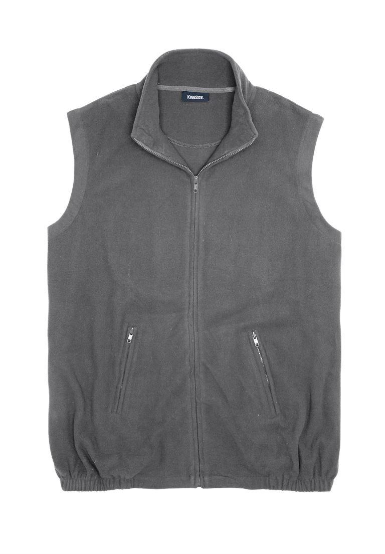 KingSize Men's Big & Tall Explorer Fleece Zip Vest, Steel Tall-4Xl
