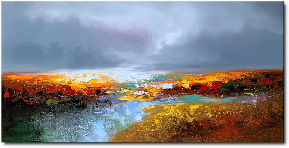 Abstract Landscape Wall Art Handmade Scenery Oil Painting on Canvas Modern Home Decor for Bathroom Bedroom Living Room