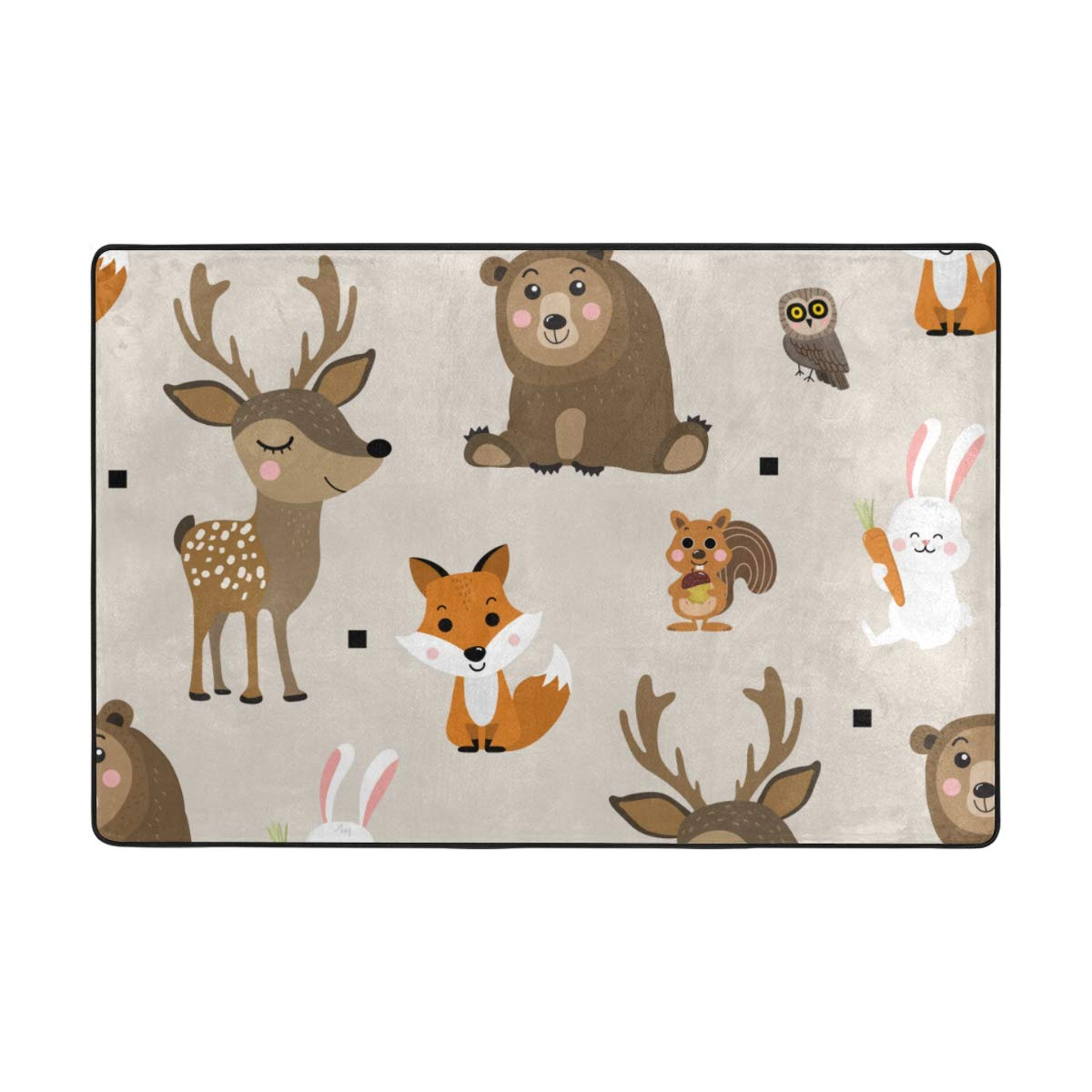 Vantaso Area Rugs Soft Foam Cute Forest Animals Deer Bear Fox Rabbit Non Slip 72x48 inch Playmats for Kids Playing Room Living Room