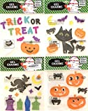 Halloween Gel Clings: Bats Cats Ghosts and Skeleton Bones Decorations for Home Office Windows Mirrors and More!