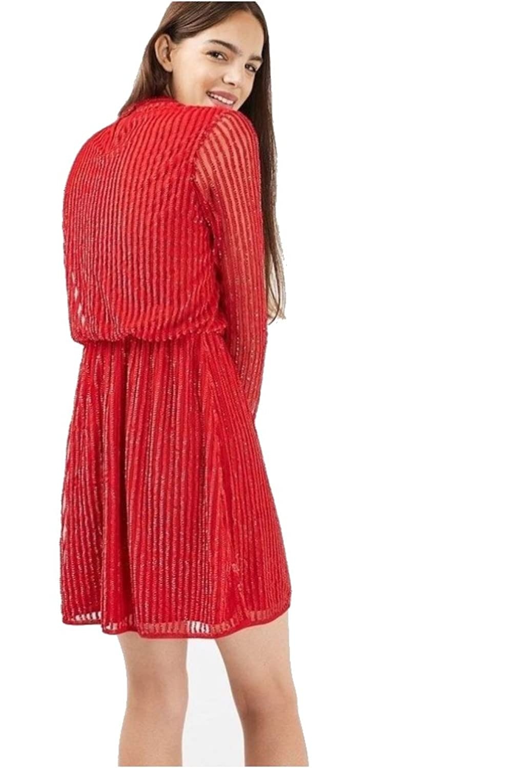 Top Shop Topshop Red Sequin 80s Roll Neck Skater Dress (38 US 6) at Amazon Womens Clothing store: