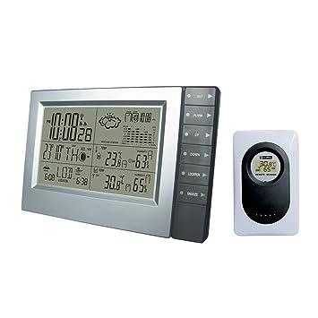 Estación de predicción digital inalámbrica con temperatura, alerta de temperatura, fase lunar, barómetro, humedad y reloj atómico: Amazon.es: Jardín