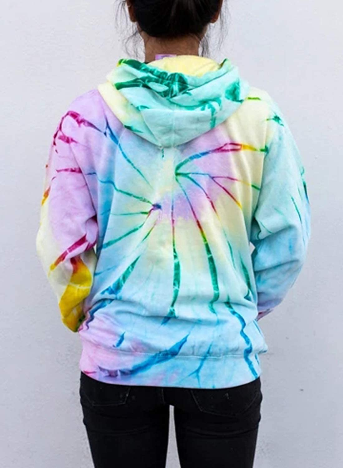Dearlovers Women Long Sleeve Tops Tie Dye Hoodie Sweatshirt Loose Tunic Shirts with Pocket