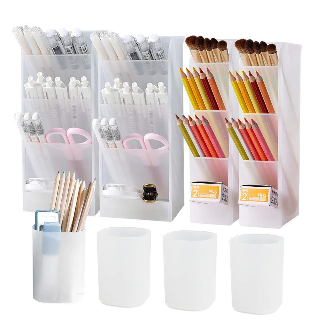 8Pcs Desk Organizer- Pen Organizer Storage for Office, School, Home Supplies, Translucent White Pen Storage Holder, Set of 4, 4 Cups 20Compartments (White)