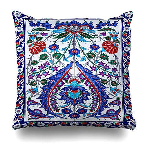 Ahawoso Throw Pillow Cover Floral Blue Ottoman Mosaic Turkish Oriental Pattern Antique Abstract Victorian Anatolia Arabic Design Decor Zippered Cushion Case 20