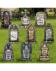JOYIN Halloween Foam Graveyard Tombstone Decorations,9 Pack Headstone and Bonus Metal Stakes for Yard Sign Decoration Stakes, Outdoor Halloween Props, Halloween Yard Lawn Decorations