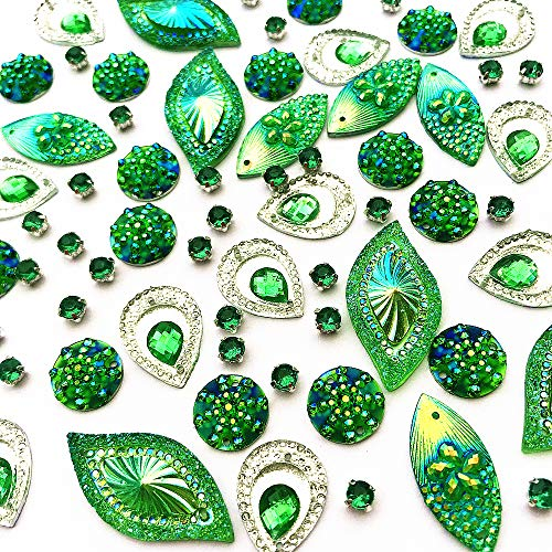(180PCS Mixed Shapes Stunning Green Gems Sew On Rhinestones Faceted Flatback Crystal Jewelry for DIY Crafts Decoration)