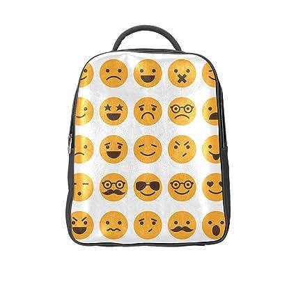 Cara sonriente emoticono Casual mochila escolar libro bolsas mochila de vuelta a la escuela